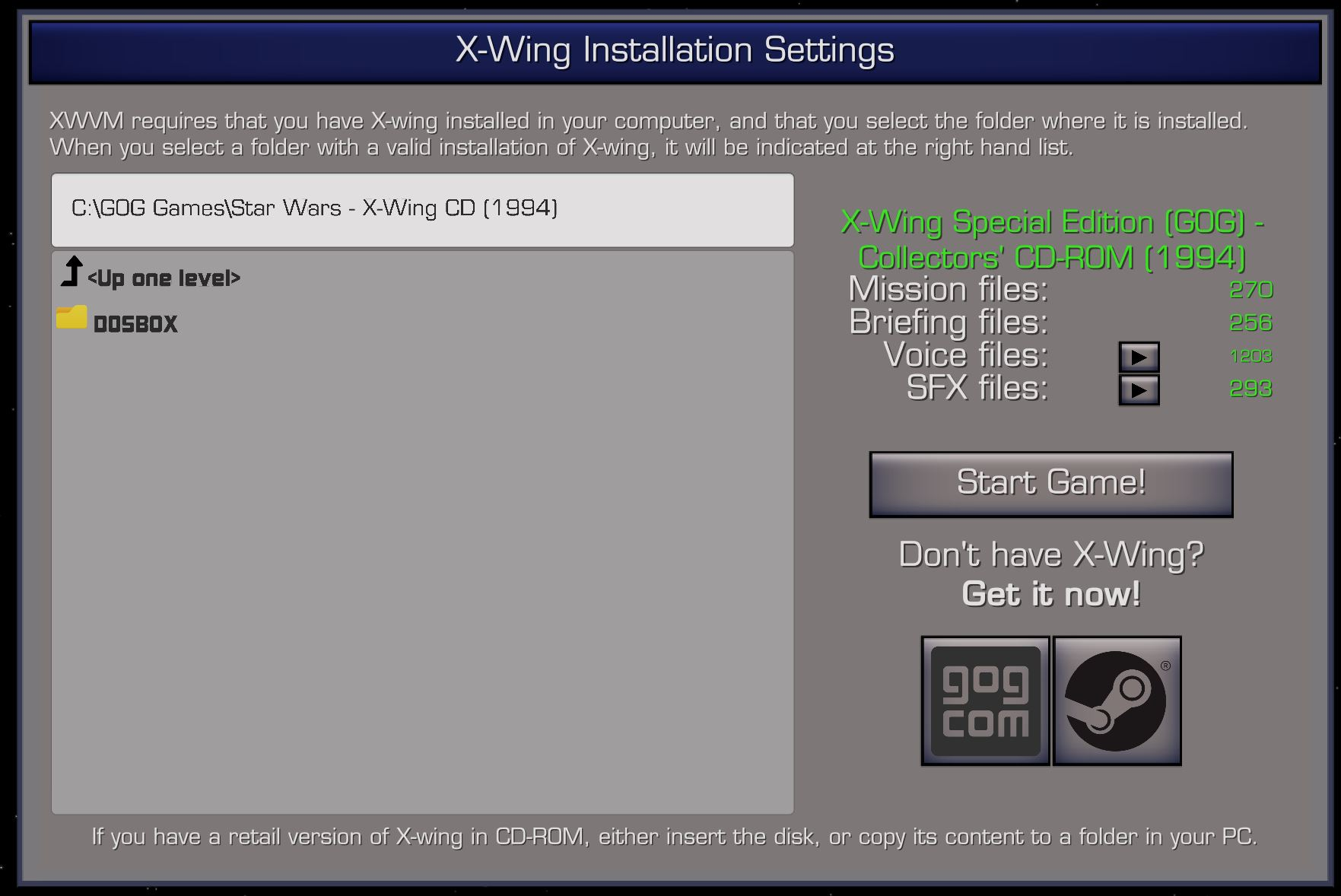 X-wing install folder selection screen in XWVM