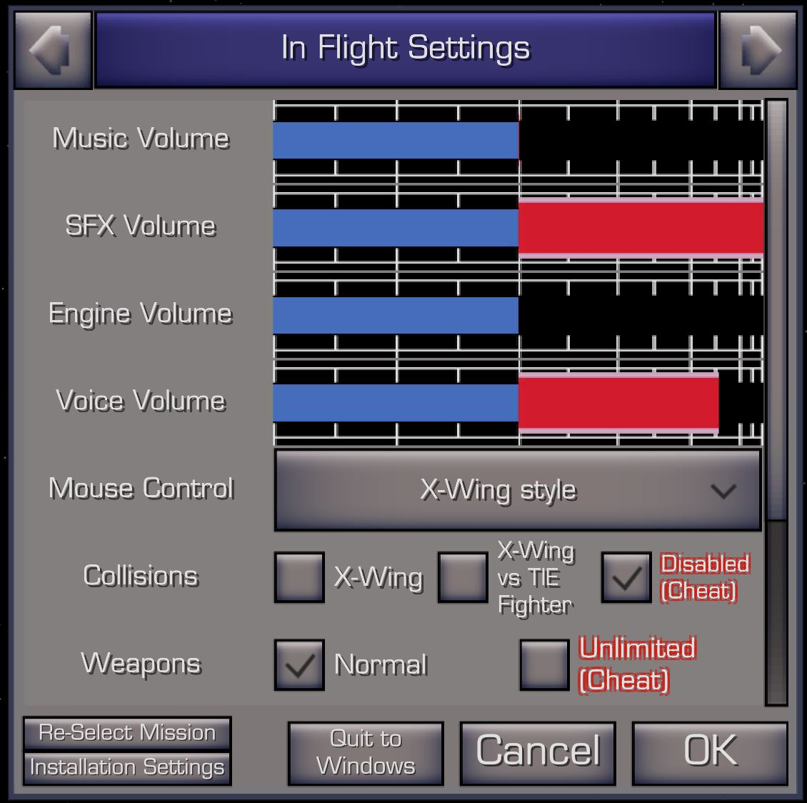 XWVM In Flight Settings