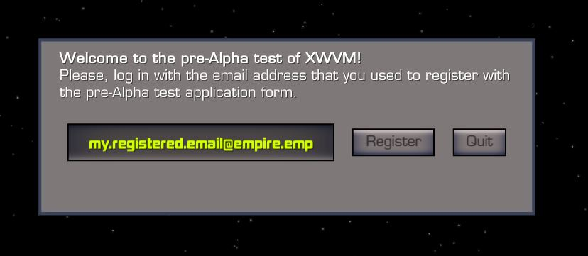 XWVM user login screen