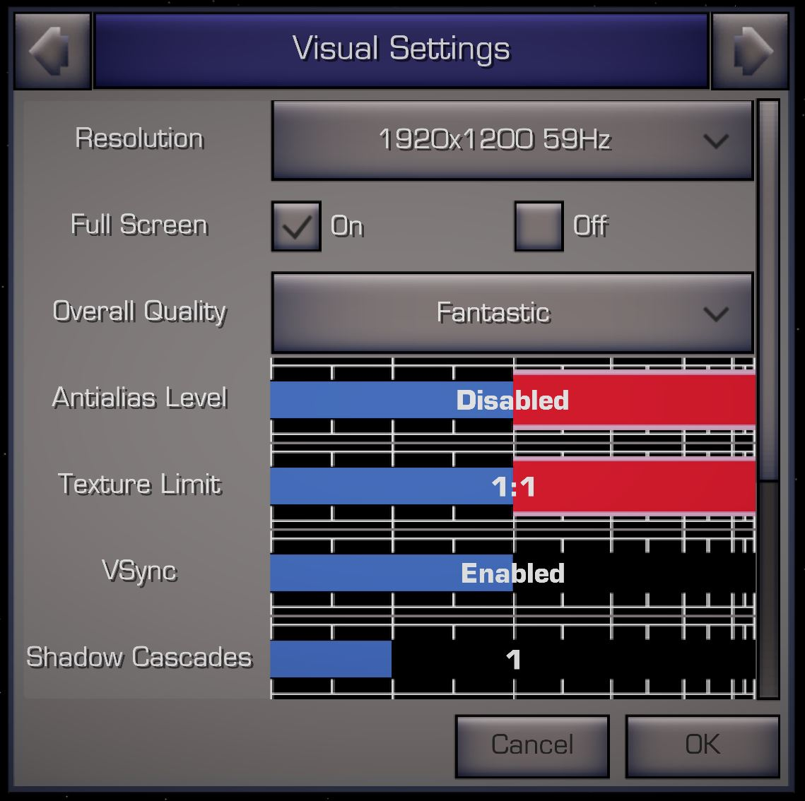 XWVM Visual Settings