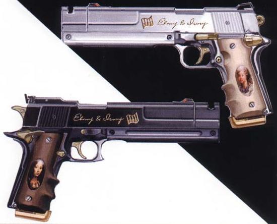Ebony And Ivory Dmc Dantes Pistols  Image