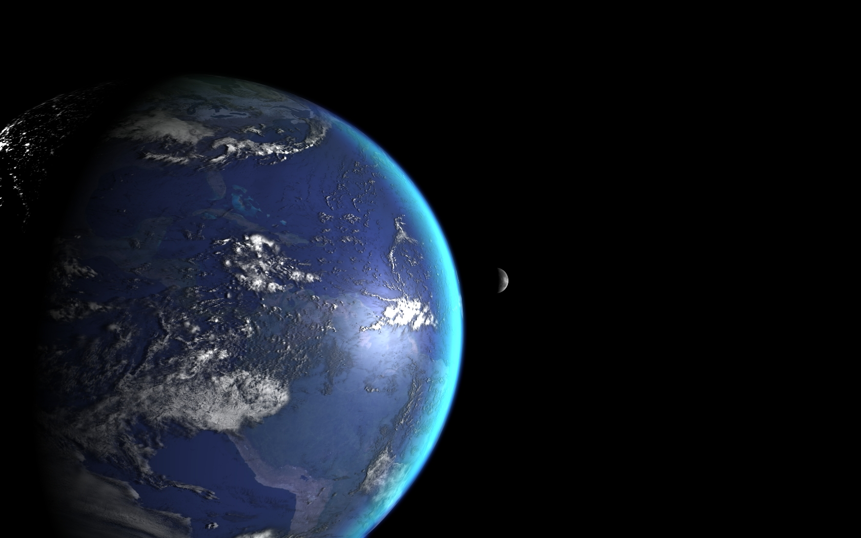 View of moon from earth