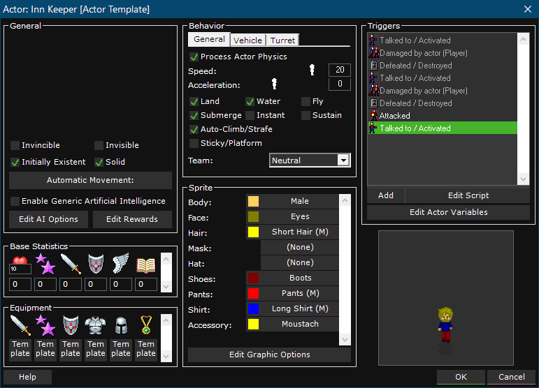 Dark User Interface (UI) within 001 Game Creator