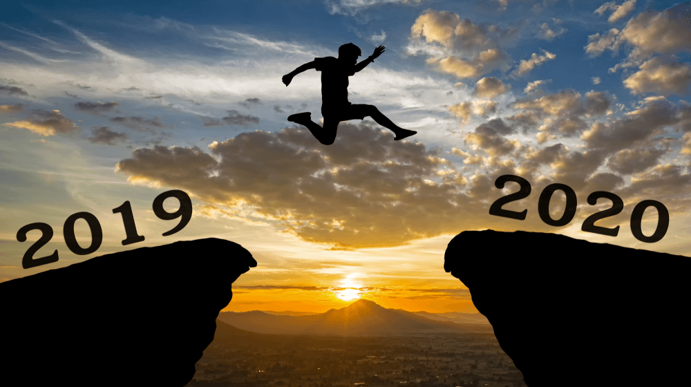 Jump from 2019 to 2020 Happy New