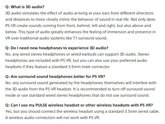 psvr 3d audio faq