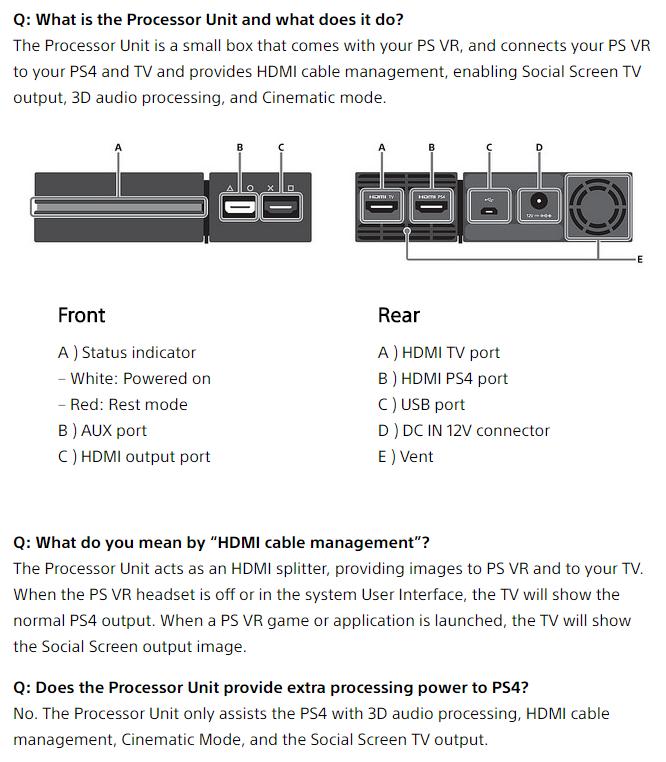 psvr processor faq