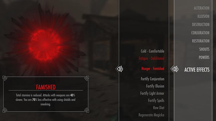 Skyrim Survival Famished
