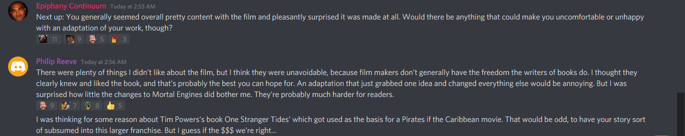 Philip Reeve's thoughts about the film.