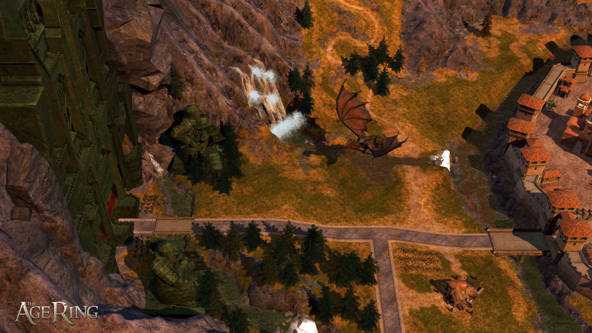 Smaug flies towards the gates of Erebor