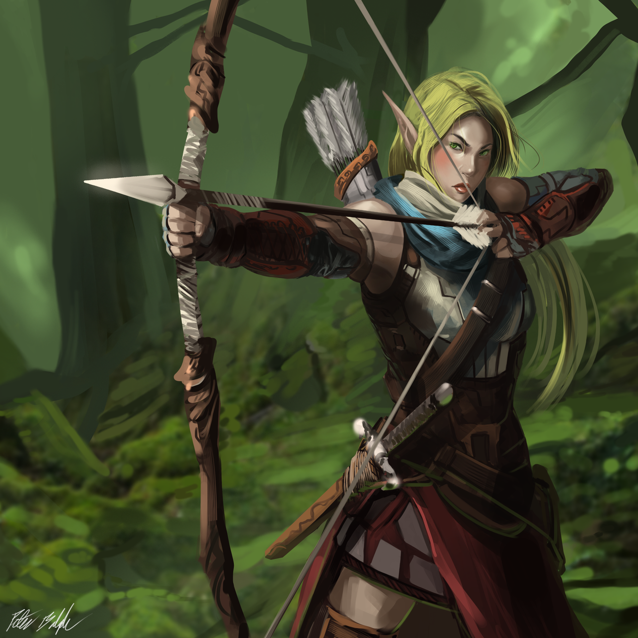 elven archer female by peterpr
