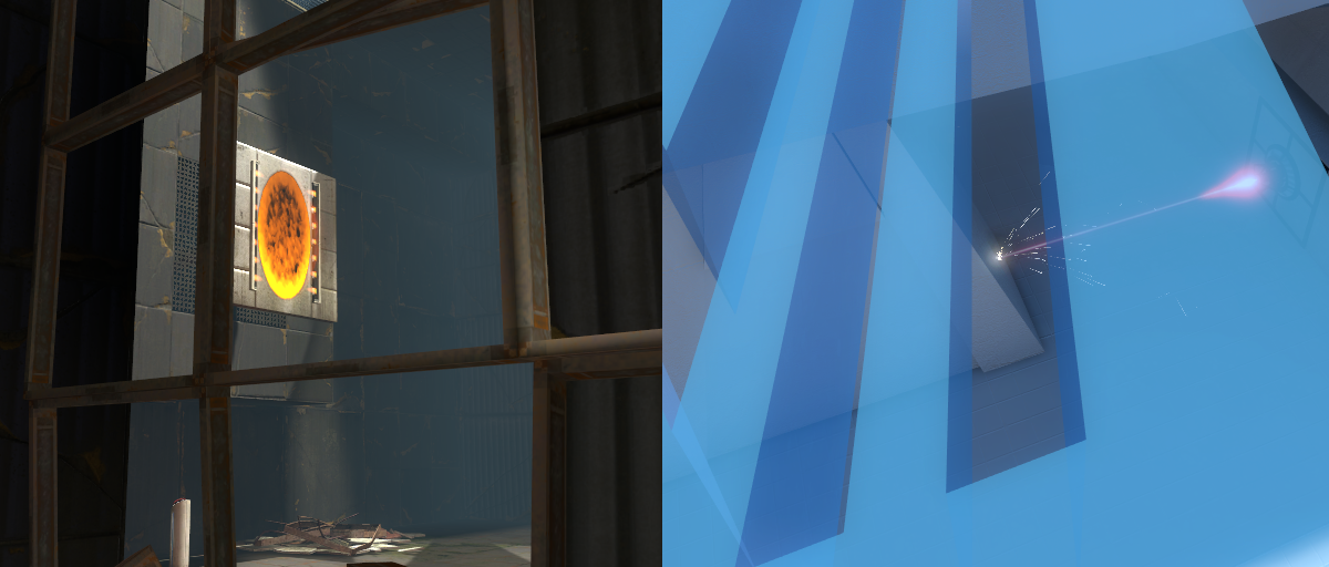 [left: Portal 2's squarebeams block the player, but still allow portals. right: Eidolon's attempts at replicating the effect with brushwork]