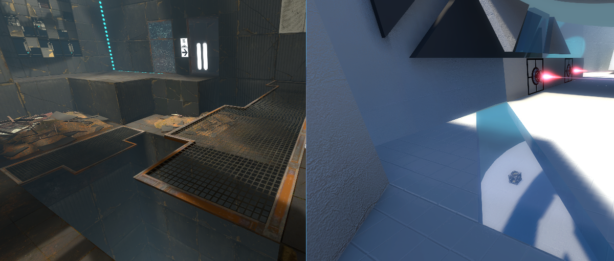 [left: Portal 2 uses translucent overhangs to encourage the player to look down. right: Eidolon uses glass floor strips to similar effect]