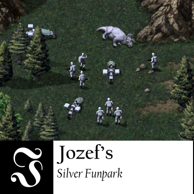 On dark green grass, between some trees at the entrance of a valley, some attack bikes and soldiers are standing around a triceratops. The bikes, the uniforms and the triceratops are all silver.