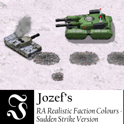 On a cratered snowy terrain, a faded green Soviet mammoth tank charges at a light gray Allied medium tank with smoke coming out the back, the Allied tank aiming at the Soviet one at an angle. Below this picture is, on the left, a logo consisting of a white Fraktur-font letter J centered on a black square, on the right in black on white the name of this mod.
