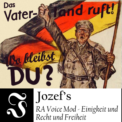 A soldier holding a German flag and raising has arm in a fist with the text