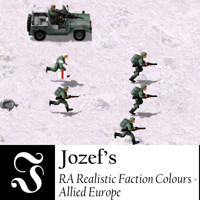 On a snowy terrain, soldiers in bluish green uniforms are running rightward along with a jeep.
