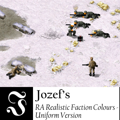 On a snowy terrain littered with golden ore, Allied soldiers with dark gray uniforms are proning. An Allied medic, also with a dark uniform and a white helmet, is taking supplies out of his medical suitcase to heal one of the soldiers. To their left lies a Soviet soldier with a tan uniform and another one to his right stands looking at the Allied soldiers. Below this picture is, on the left, a logo consisting of a white Fraktur-font letter J centered on a black square, on the right in black on white the name of this mod.