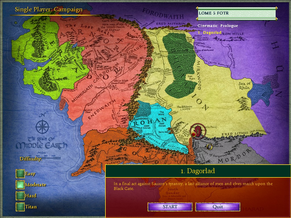 Screenshot of the new campaign menu. the Middle-Earth map has been recoloured to show more country borders
