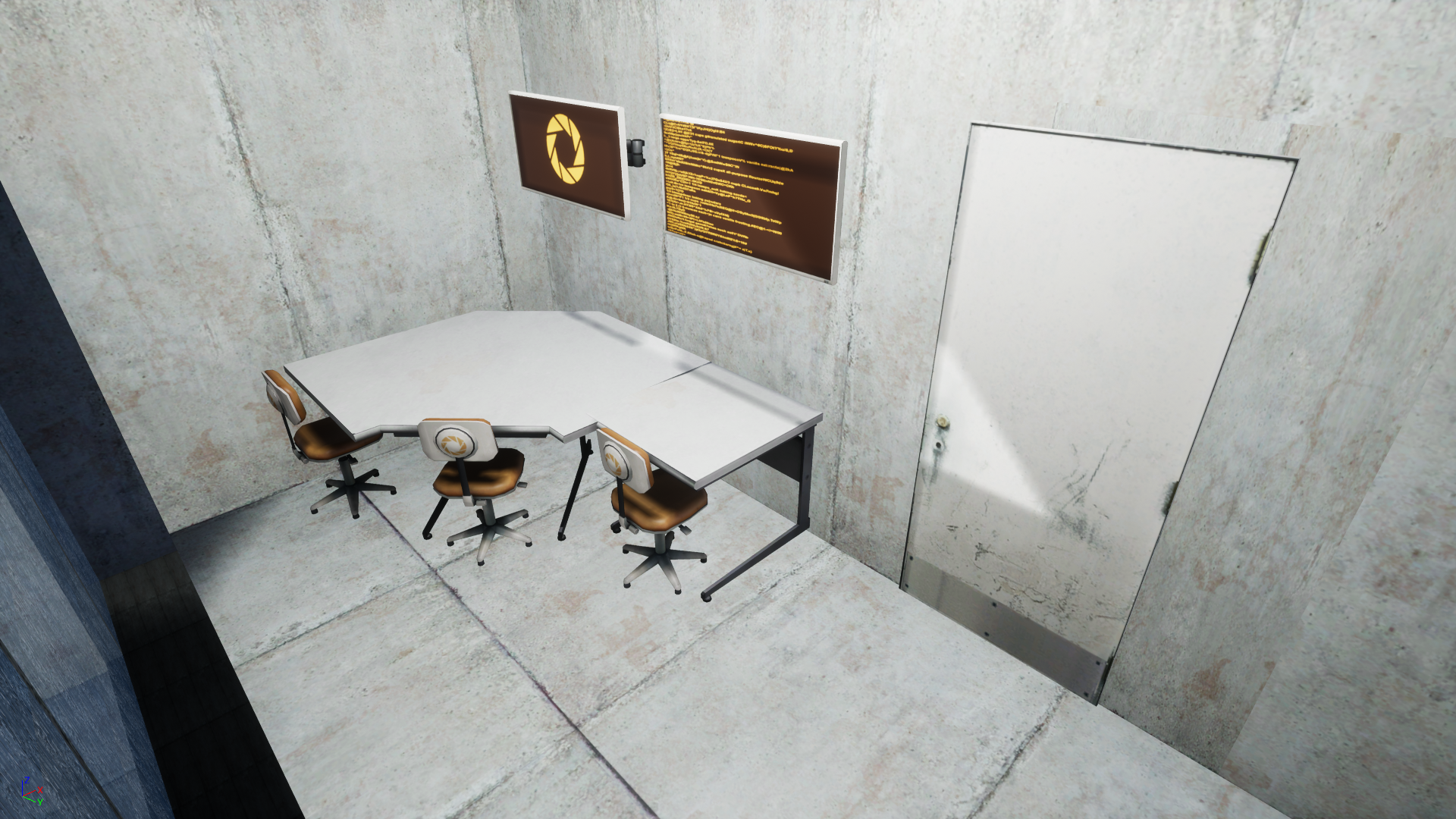 Observation room near the spawn zone from the first level of Portal Remastered, on the 22nd of July 2017.