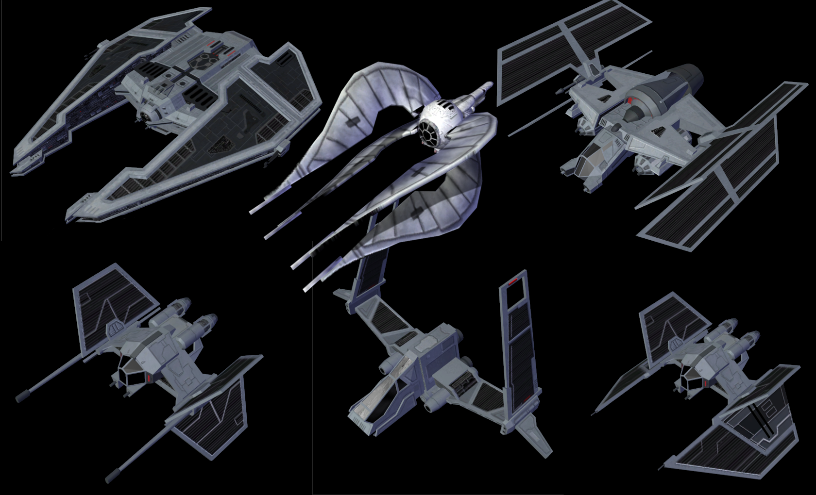 Quick image of most of the Sith fightercraft.