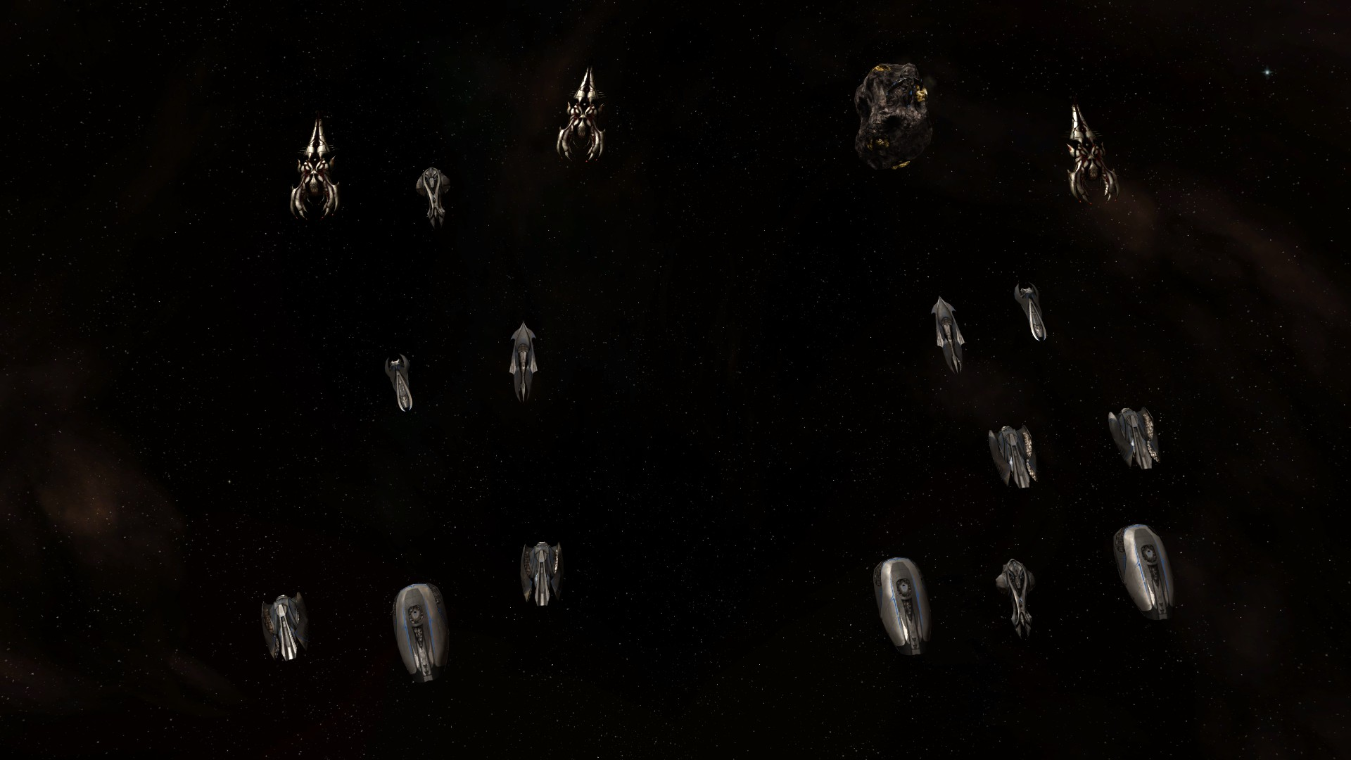 Vasari Rebels (left) in a protective formation for the Vulkoras Desolator. Vasari Loyalists using a tanky configuration with a different focus.