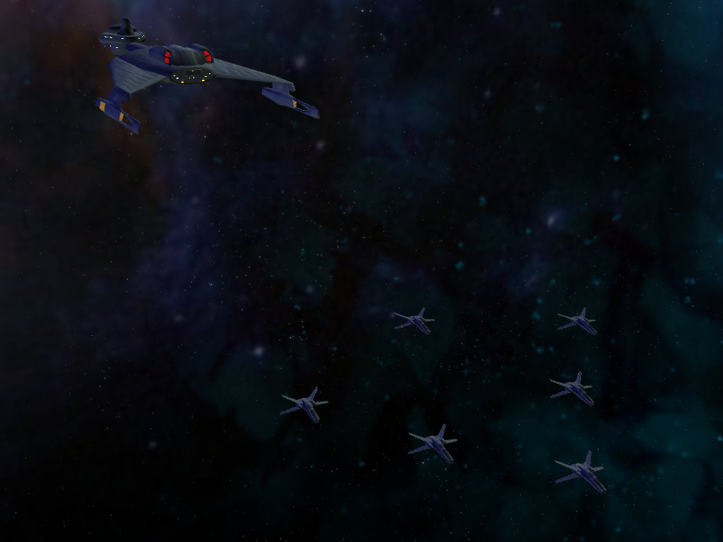 Tark'EgH fighters after they launched from the Cha'Par Class carrier