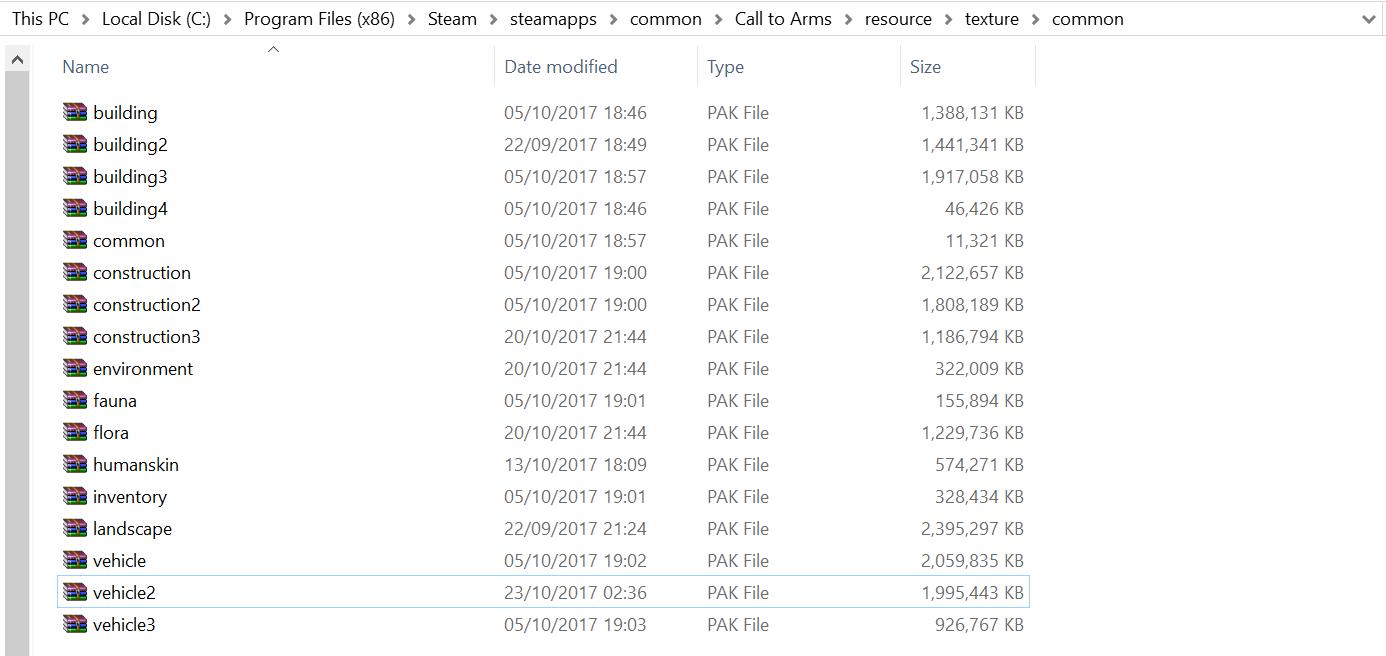 Zip files of the textures