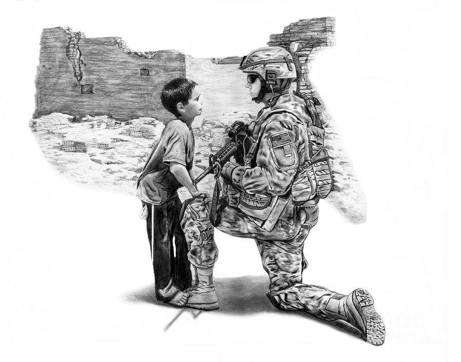 Crying Female American Soldier Drawing Painting Cartoon Image Picture