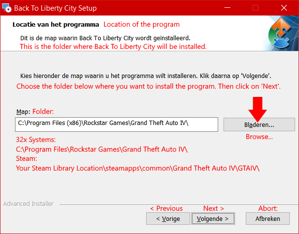 Click Bladeren... to browse for GTA IV install location