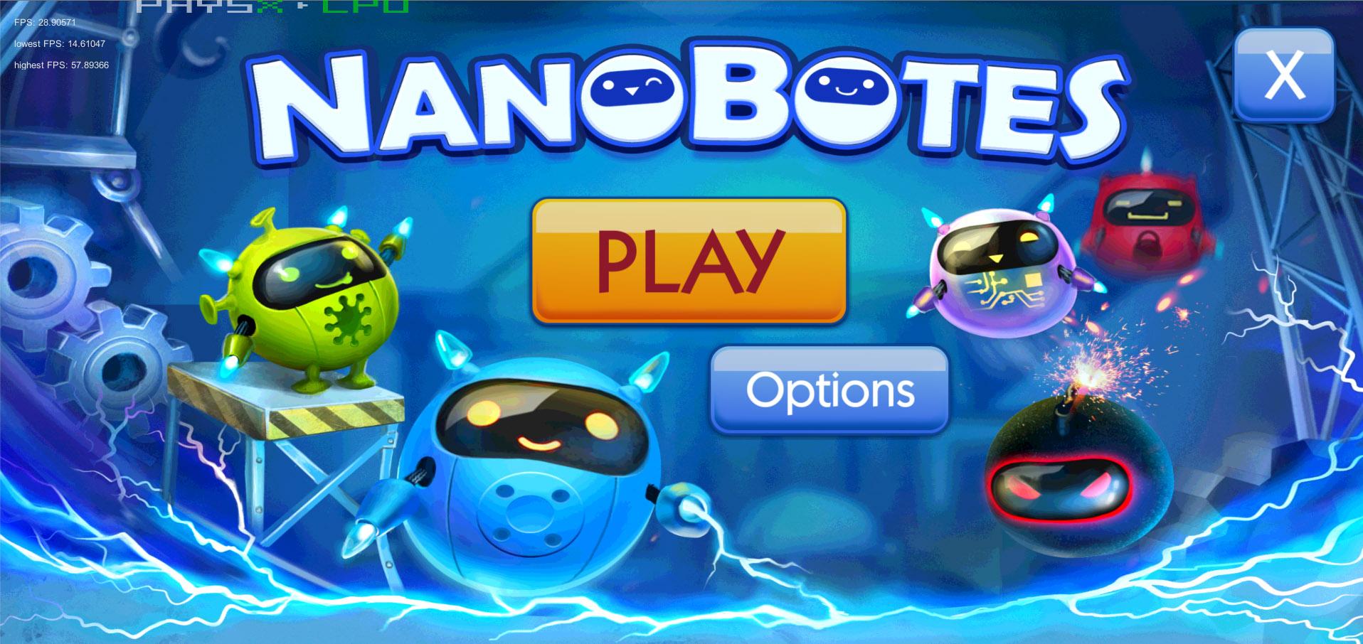 Nanobotes main menu