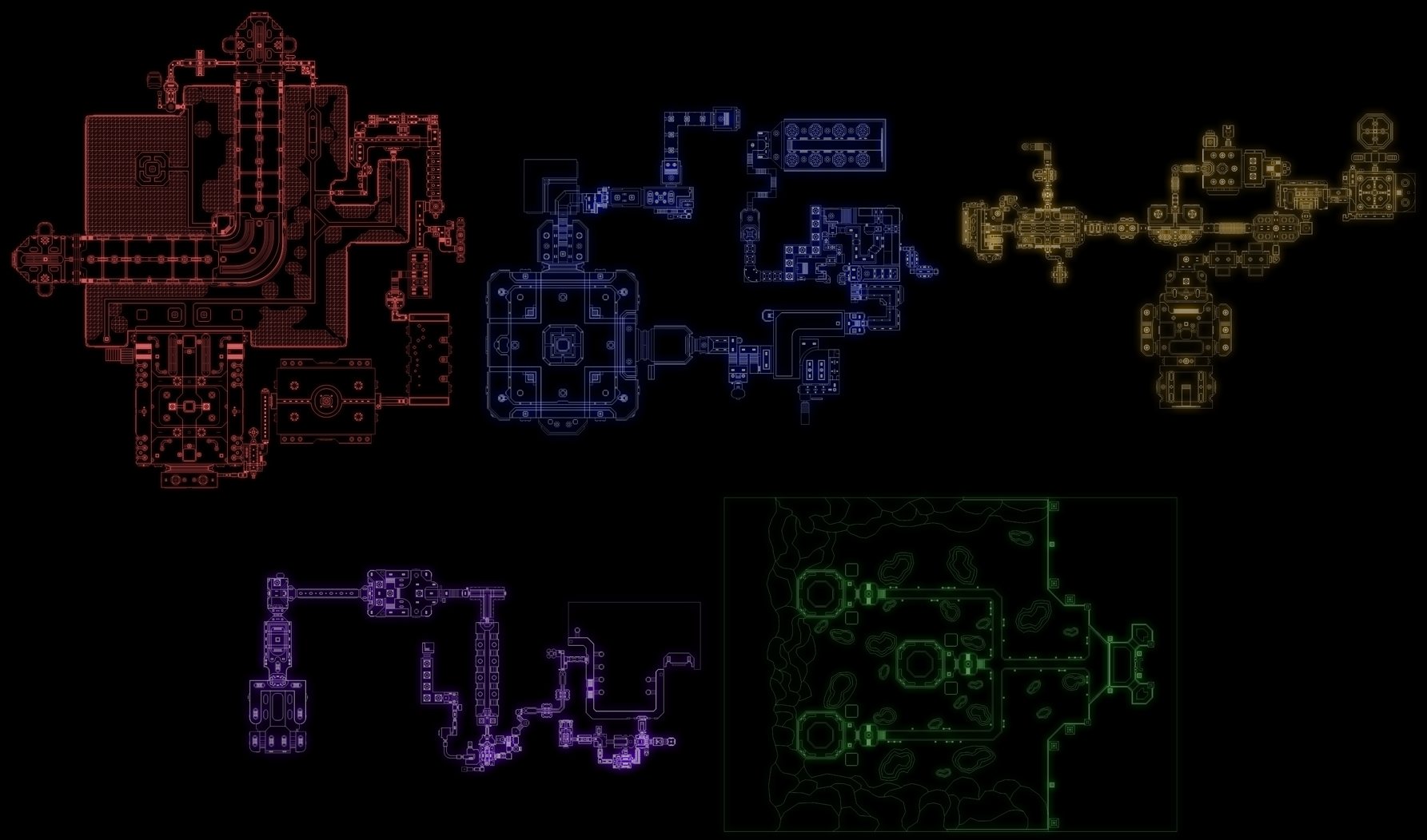 From left to right: Baerhon's Lair Part 1, Baerhon's Lair Part 2, Rarlocan Main Base, Onerium's Lost Section, Oner-7 Portal Hub.