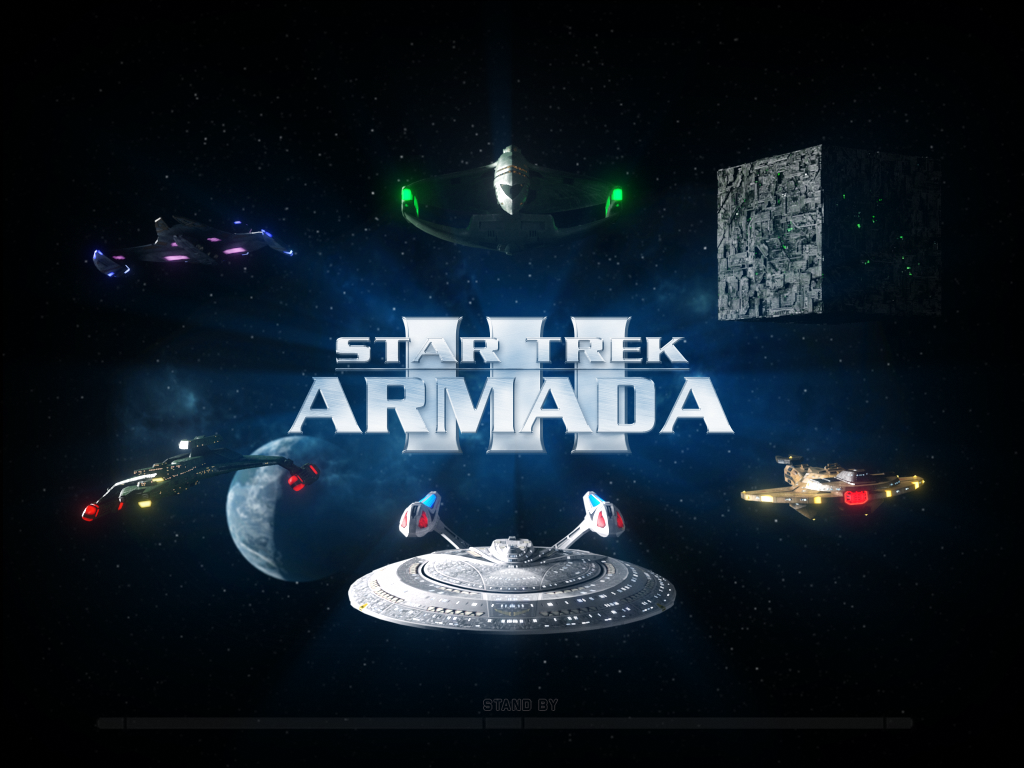 Publicity image of starships representing the six factions in Star Trek Armada III
