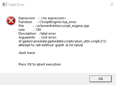 LUA Error on New Game Thread - S T A L K E R  Anomaly mod