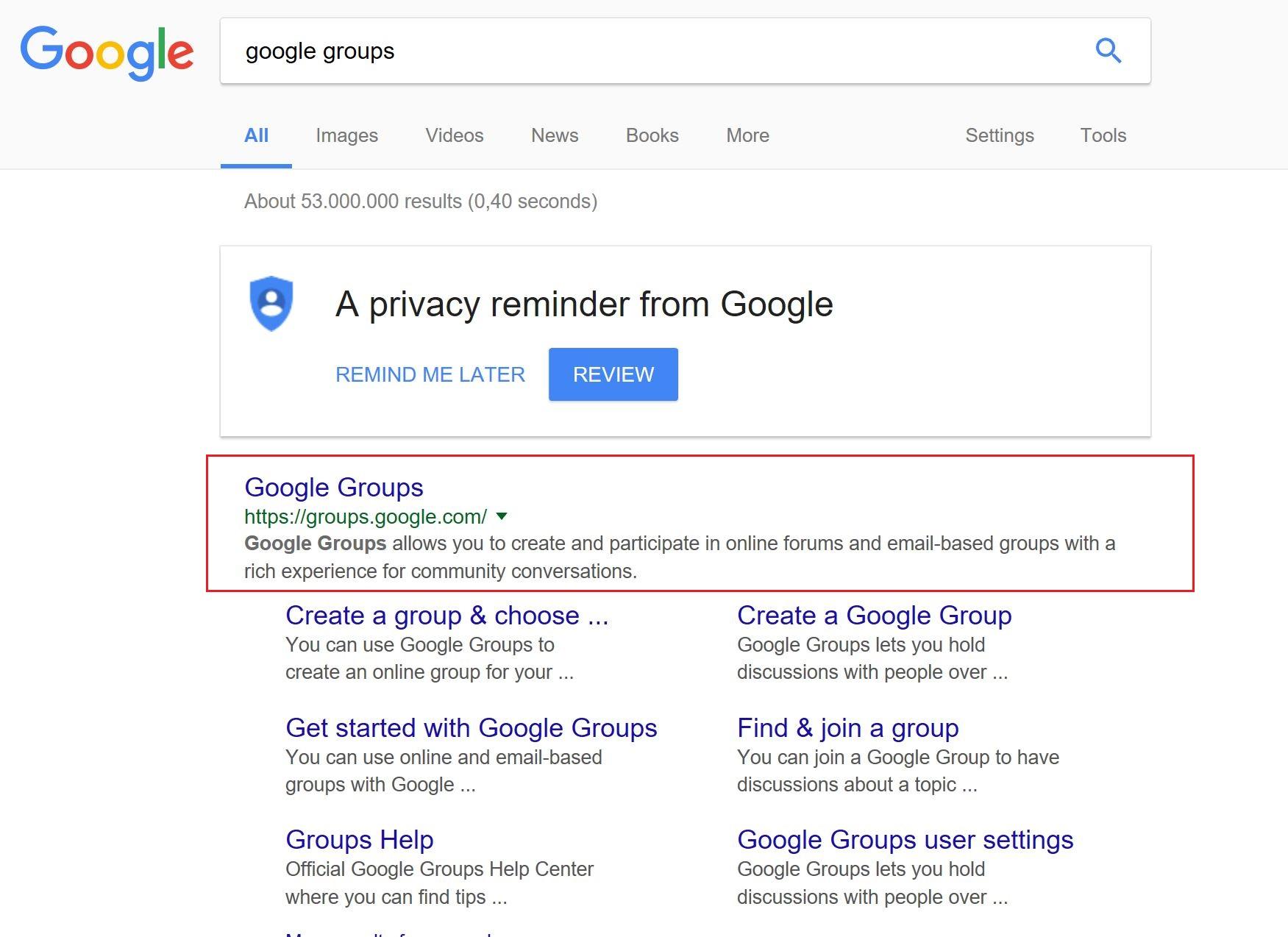 Find Google Groups