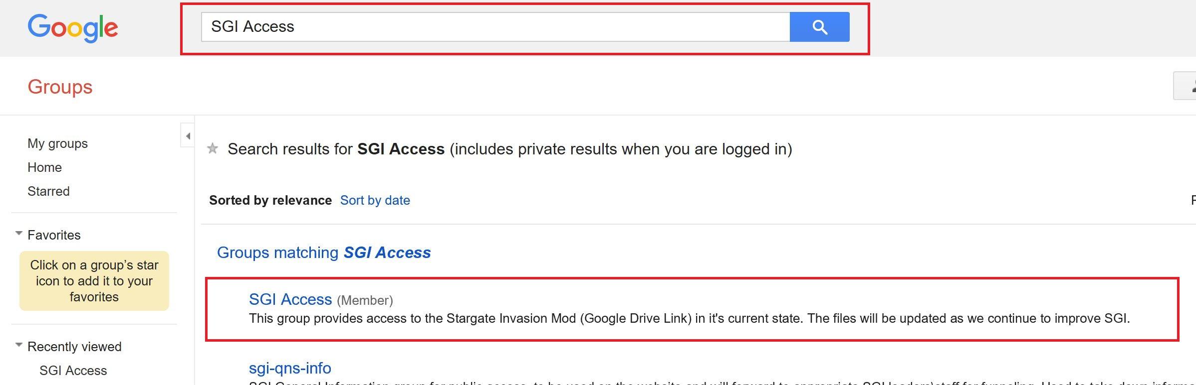 Search for SGI Access on Google