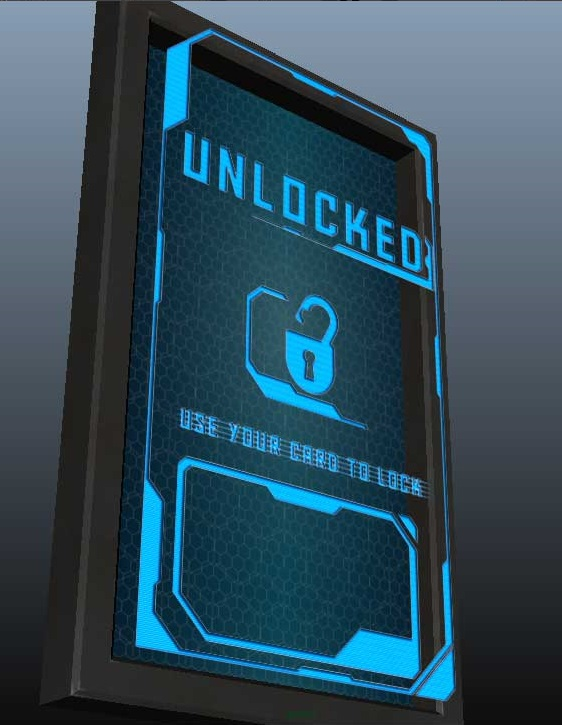 The holographic panel displaying that the room has been unlocked