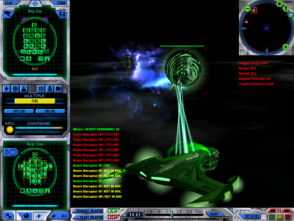 Borg Cone attacking Romulan Harp