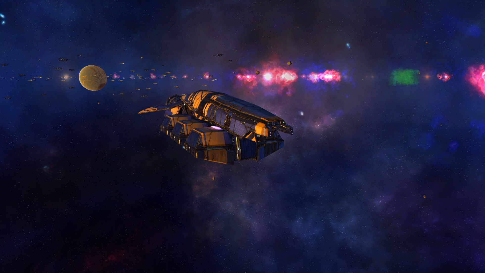 Freighter fleeing Atrozal as the galaxy is exploding.