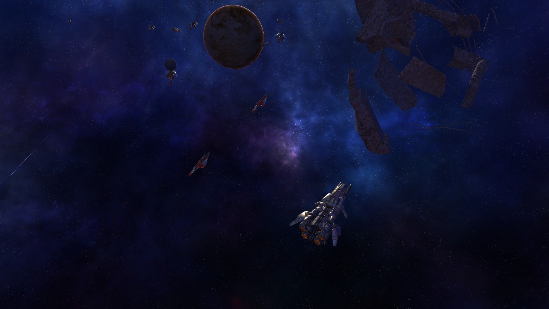 Nylli derelict near a debris field and Rahta support ships.