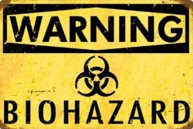 Warning Biohazard Vintage Sign