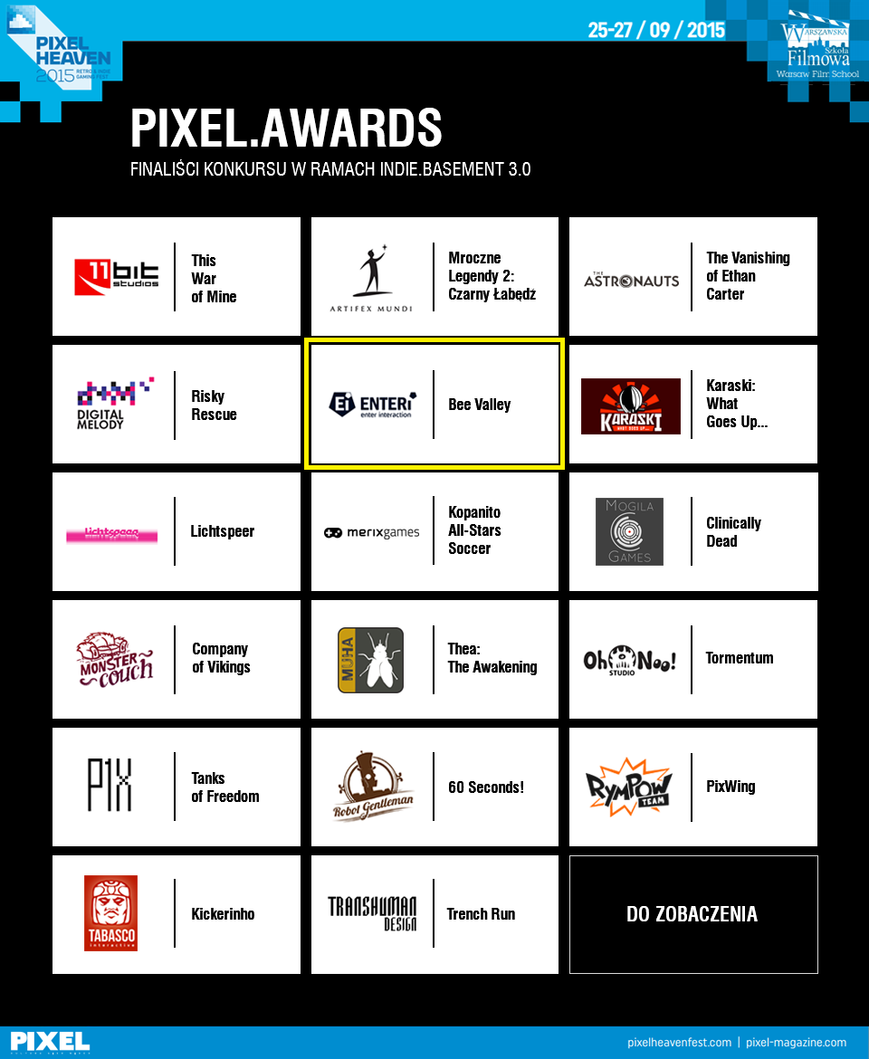 Pixel Awards 2015 - Bee Valley - in the best 15 game
