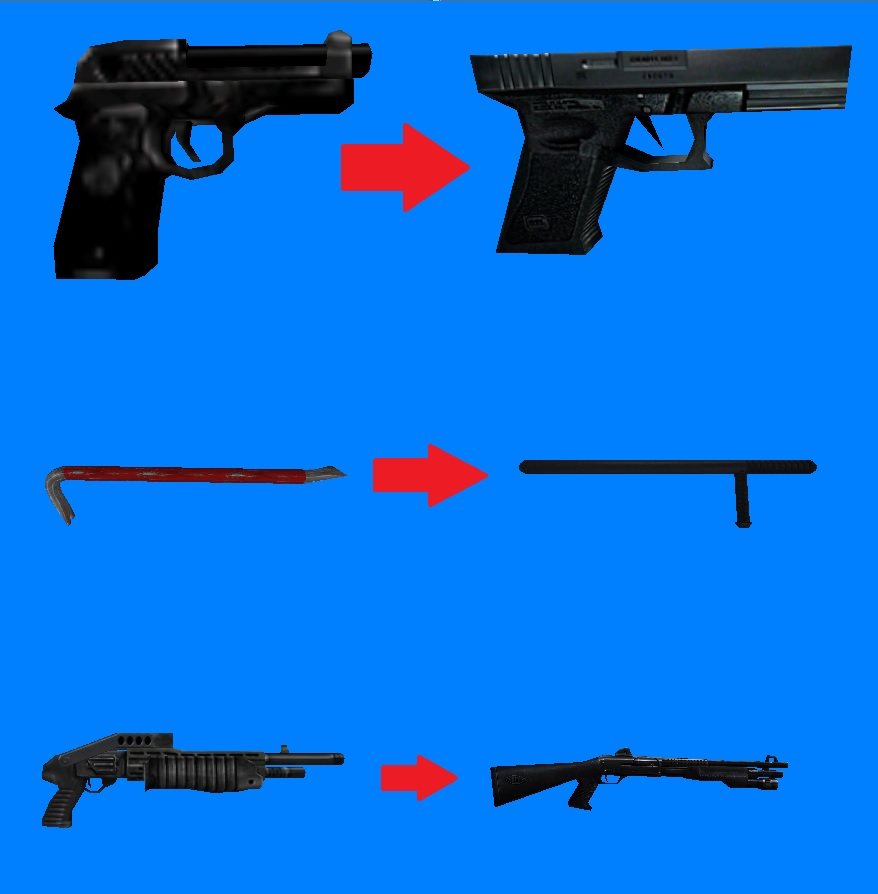 a few weapons reskined to fit the story better