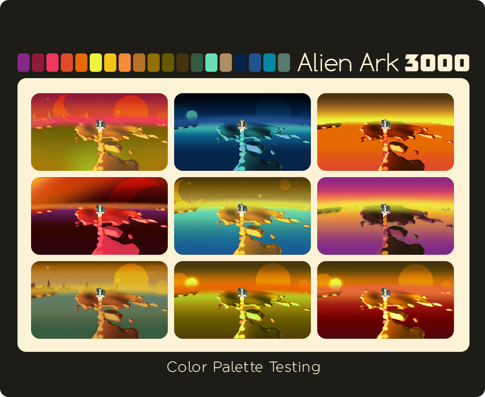 Concept of the color palette of the planets.