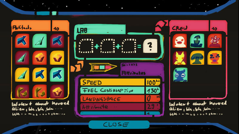 Concept of the UI for the ship screen.