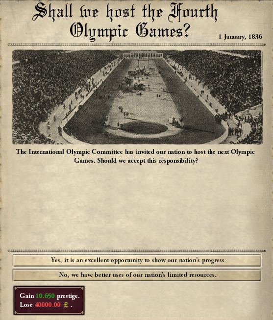 Here is the 4th Olypmic Games event for example