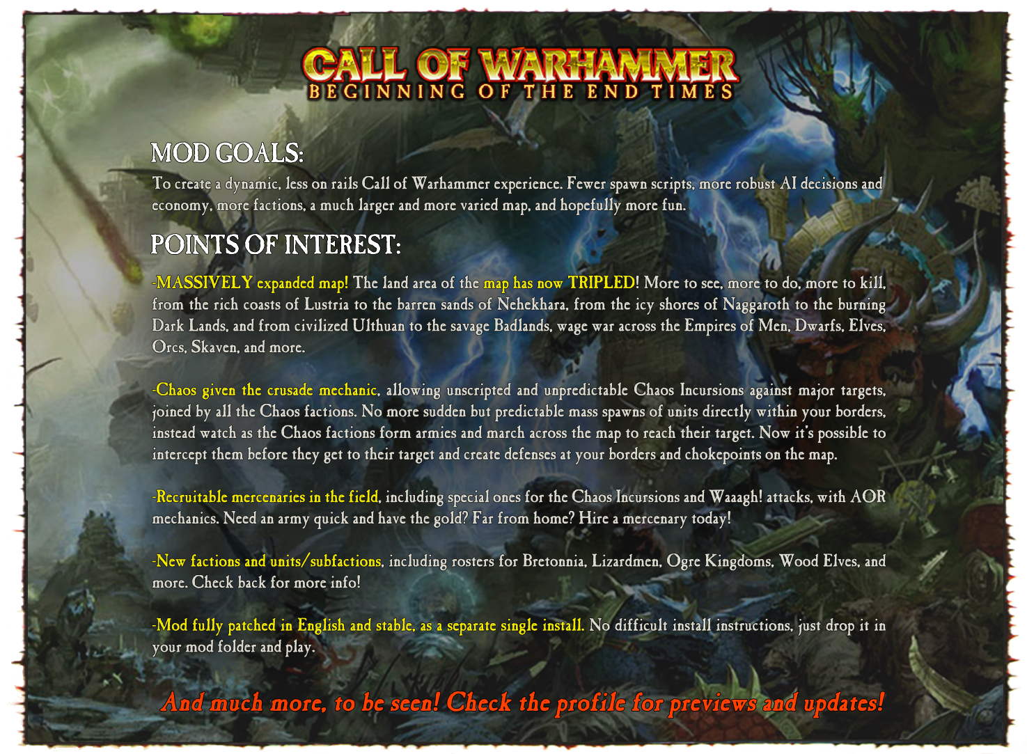 Call of Warhammer: Beginning of The End Times mod for