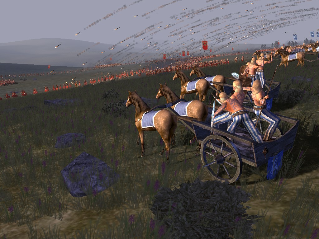 Chariots charge in with their ja