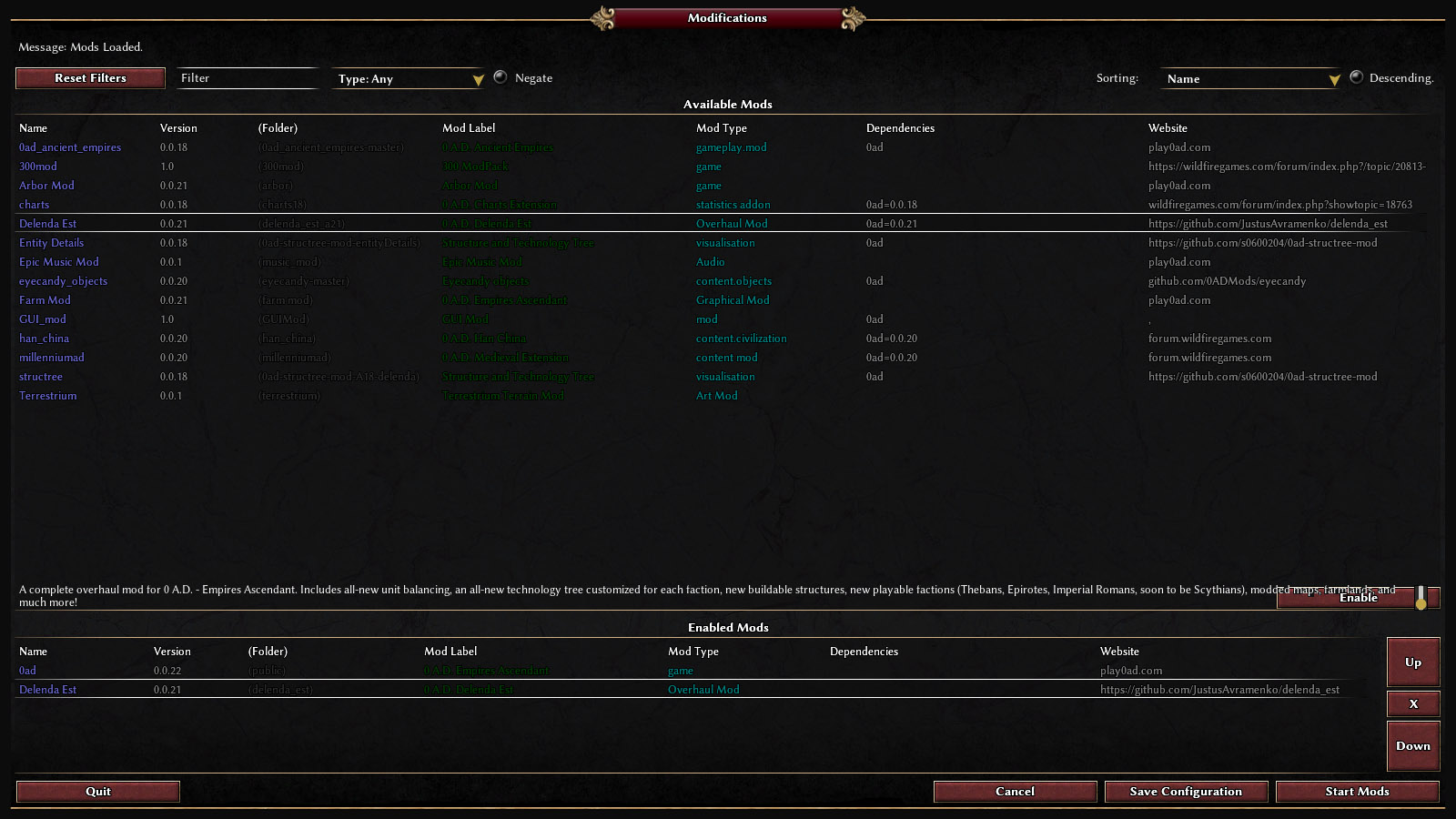 types of skills list%0A Select the mod from the list then choose enable  Click save configuration   then start mods button  Voila   BTW  this procedure is used for every mod