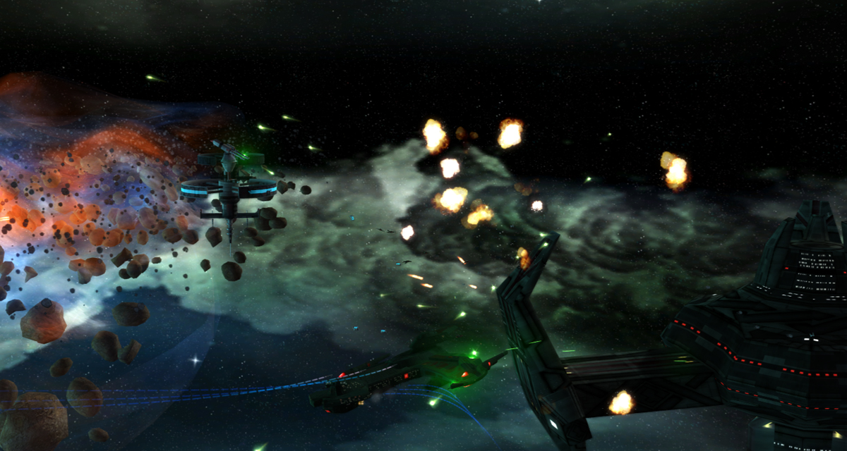 Negh'Var firing pulse disruptors, you can just about see the muzzle flashes