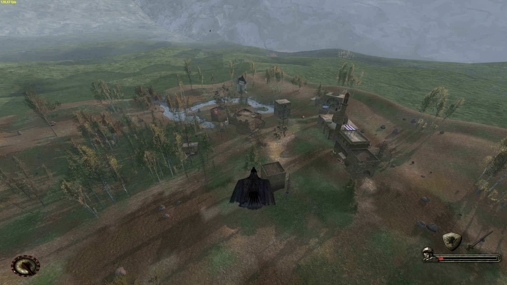 Raven hovering over merchant villas